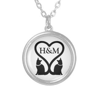 Cat heart (name inserting) silver plated necklace