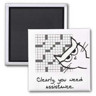 Cat Helps with the Crossword - Funny Cat Magnet