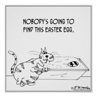 Cat Hides Easter Egg Print