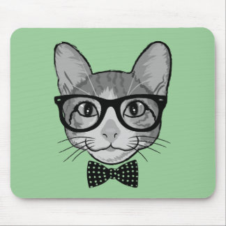 Cat Hipster with Polka Dots Bow Tie Mouse Pads