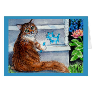Cat hobo sign, kind lady lives here greeting card