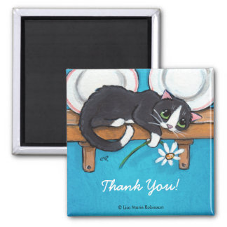 Cat Holding a Daisy | Thank You Magnet