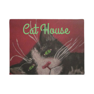 Cat house door mat
