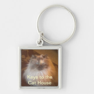 Cat House Silver-Colored Square Key Ring