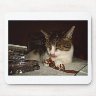 Cat Hungry For Cassettes Mouse Pad
