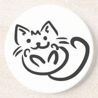 Cat Illustration custom color coaster