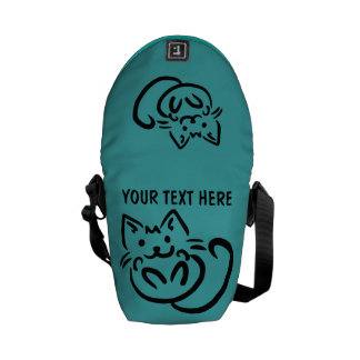 Cat Illustration custom messenger bag