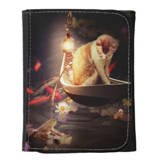 Cat in a Boat Leather Wallet