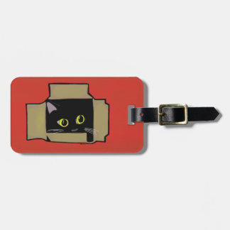 Cat in a Box Red Luggage Tag