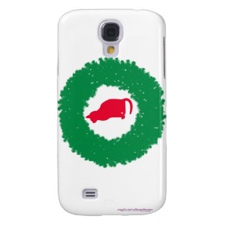 Cat In A Christmas Wreath| Holiday Cat & Wreath Galaxy S4 Covers
