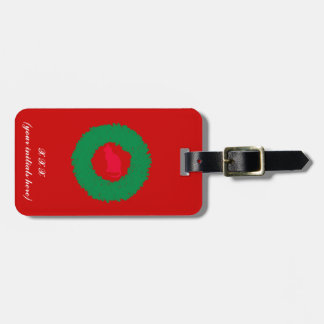 Cat In A Christmas Wreath| Holiday Cat & Wreath Luggage Tag