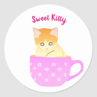 cat in a cup classic round sticker