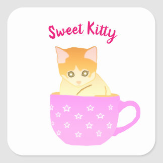 cat in a cup square sticker