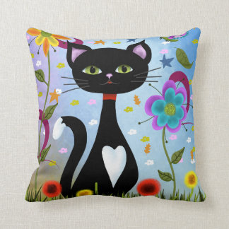 Cat In A Garden Abstract Art Cushion