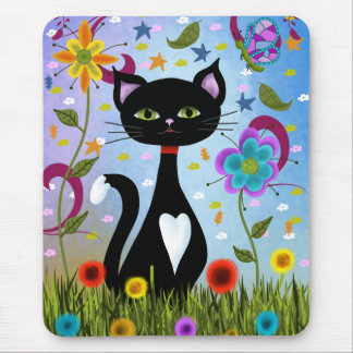 Cat In A Garden Abstract Art Mouse Pad