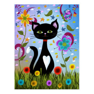 Cat In A Garden Abstract Art Postcard