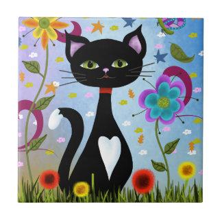 Cat In A Garden Abstract Art Tile