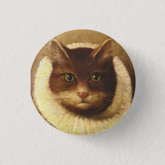 Cat In A Ruff Cute Victorian Art Vintage Painting 3 Cm Round Badge