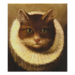Cat In A Ruff Cute Victorian Art Vintage Painting Poster