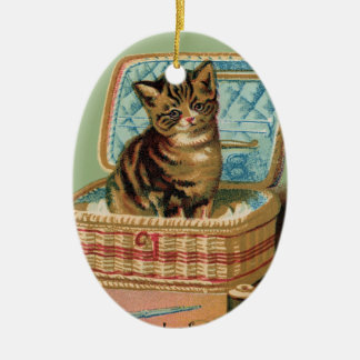 Cat in a Sewing Basket Ceramic Ornament