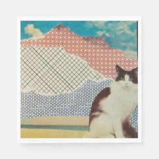 Cat in a strange landscape paper napkins
