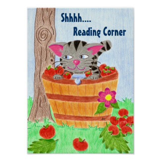 Cat in apple basket , reading corner poster
