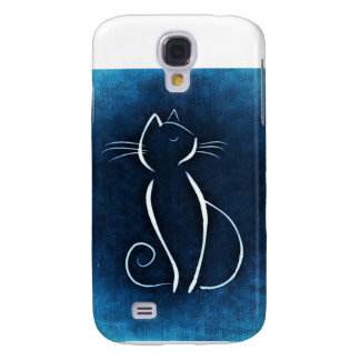 Cat in Blue Samsung Galaxy S4 Cases
