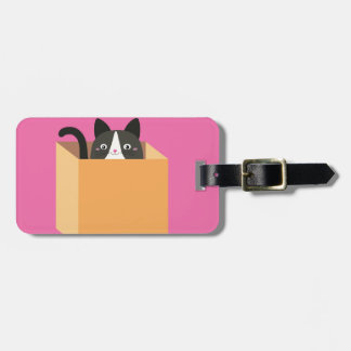 Cat in  box luggage tag