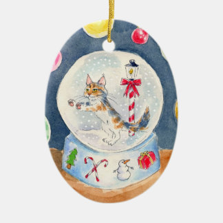 Cat in Christmas Snow Globe ornament