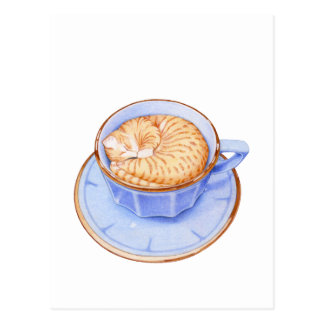 Cat in Coffee Postcard