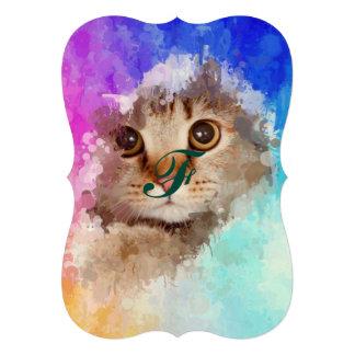 Cat in drip paint abstract art, modern trendy fun 13 cm x 18 cm invitation card