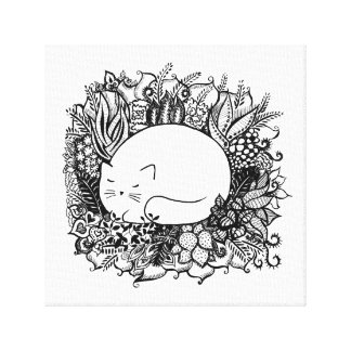 Cat in Flowers Canvas Print