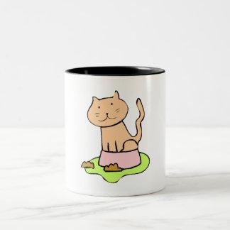 Cat In Food Dish Coffee Mugs