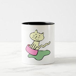 Cat In Food Dish Coffee Mug