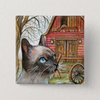 Cat in Front of Barn House 15 Cm Square Badge