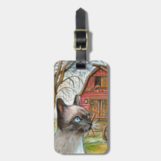 Cat in Front of Barn House Bag Tag