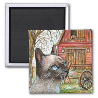 Cat in Front of Barn House Square Magnet