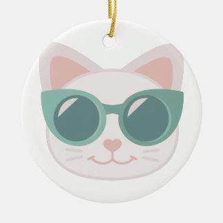 Cat In Glasses Round Ceramic Decoration
