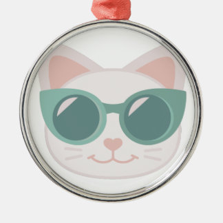 Cat In Glasses Silver-Colored Round Decoration