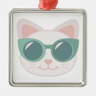 Cat In Glasses Silver-Colored Square Decoration