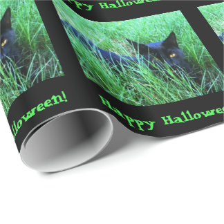 Cat-in-Grass Halloween Custom Wrapping Paper