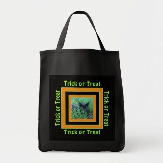 Cat in Grass Trick or Treat Grocery Tote Bag