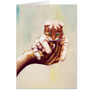CAT IN HAND CARD