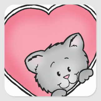 Cat in heart - Valentine's Day Gift Square Sticker