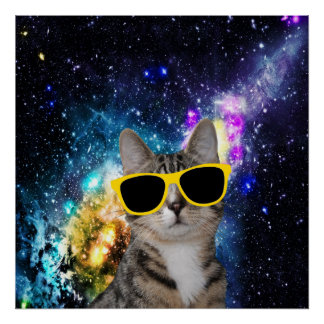 Cat in Outer Space Poster