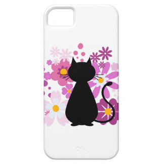 Cat in Pink Flowers iPhone SE 5/5S Tough Case