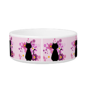 Cat in Pink Flowers Medium Pet Bowl