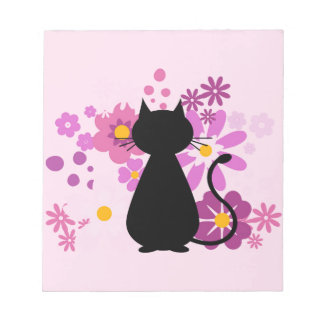Cat in Pink Flowers Notepad