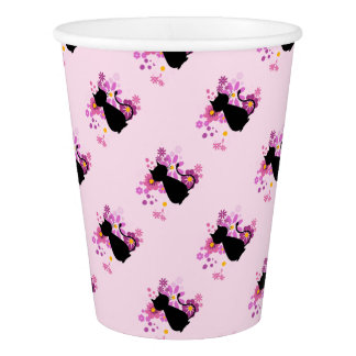 Cat in Pink Flowers Paper Cup
