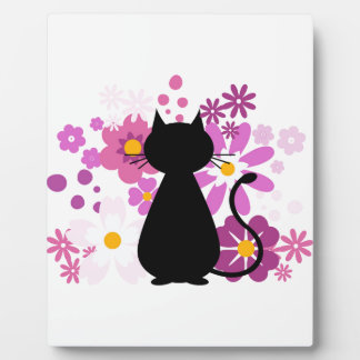 Cat in Pink Flowers Plaque with Easel (white)